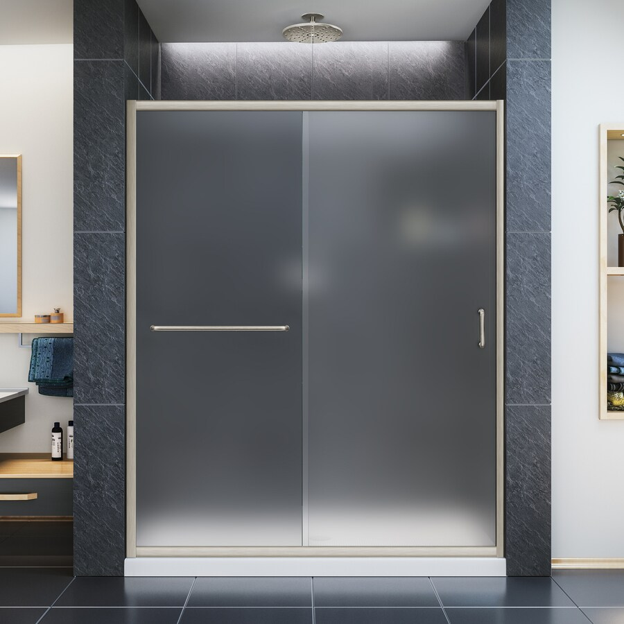 DreamLine Infinity-Z Brushed Nickel Acrylic Floor 2-Piece Alcove Shower Kit (Common: 30-in x 60-in; Actual: 74.75-in x 30-in x 60-in)
