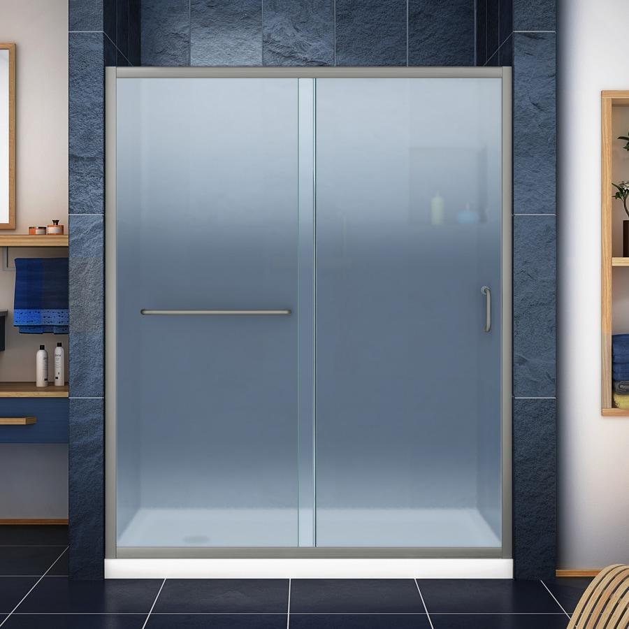 DreamLine Infinity-Z Brushed Nickel Acrylic Floor 2-Piece Alcove Shower Kit (Common: 34-in x 60-in; Actual: 74.75-in x 34-in x 60-in)