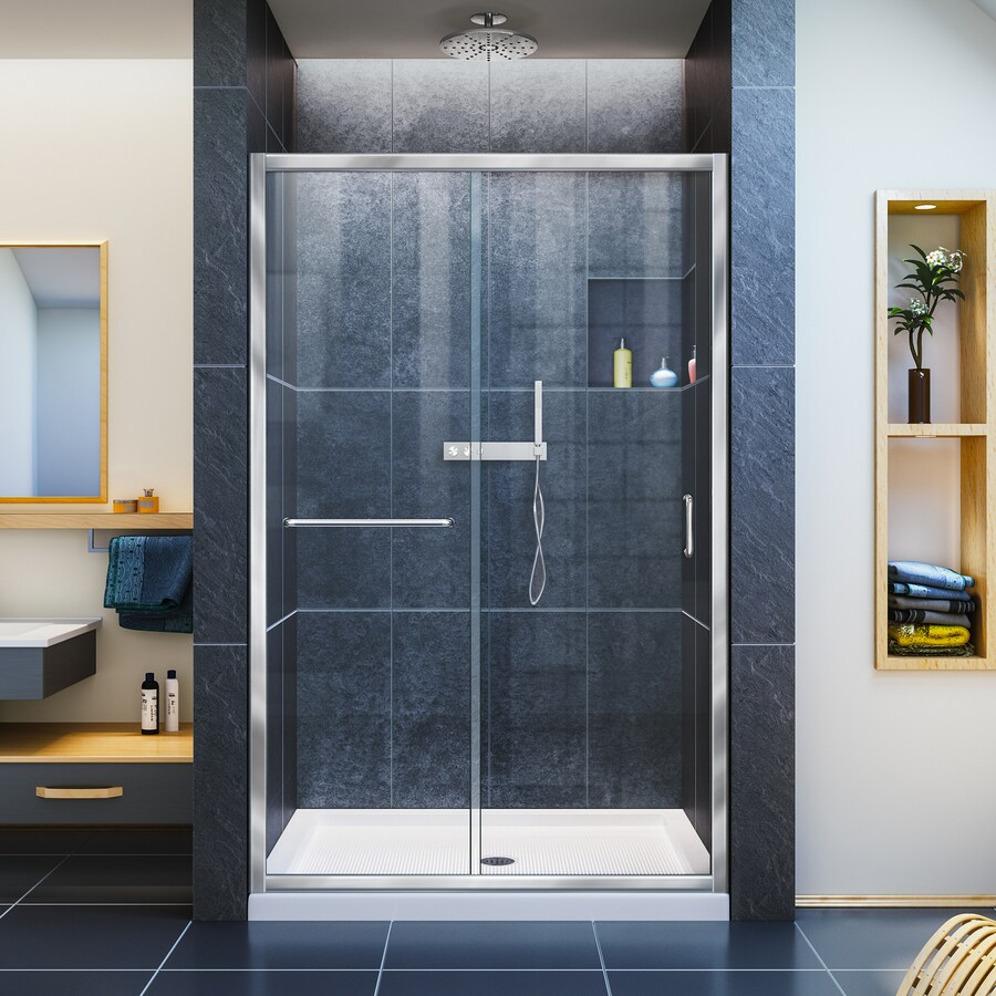 DreamLine Infinity-Z Chrome Acrylic Floor 2-Piece Alcove Shower Kit (Common: 36-in x 48-in; Actual: 74.75-in x 36-in x 48-in)