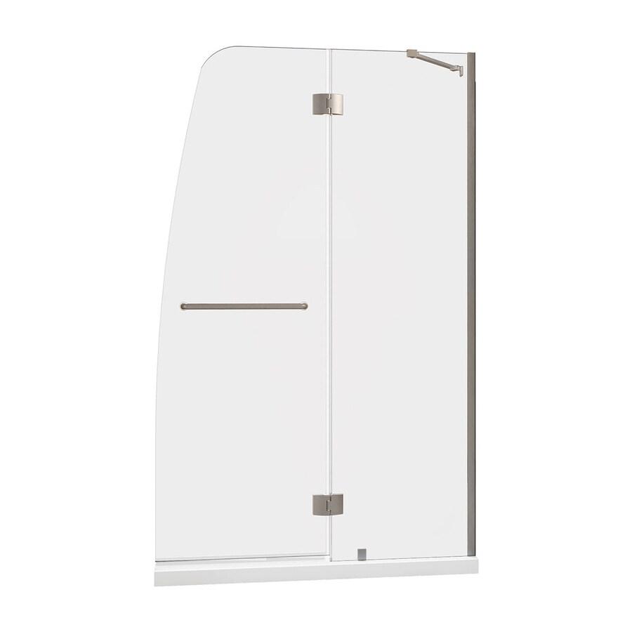 DreamLine Aqua Brushed Nickel Acrylic Floor 2-Piece Alcove Shower Kit (Common: 30-in x 60-in; Actual: 74.75-in x 30-in x 60-in)