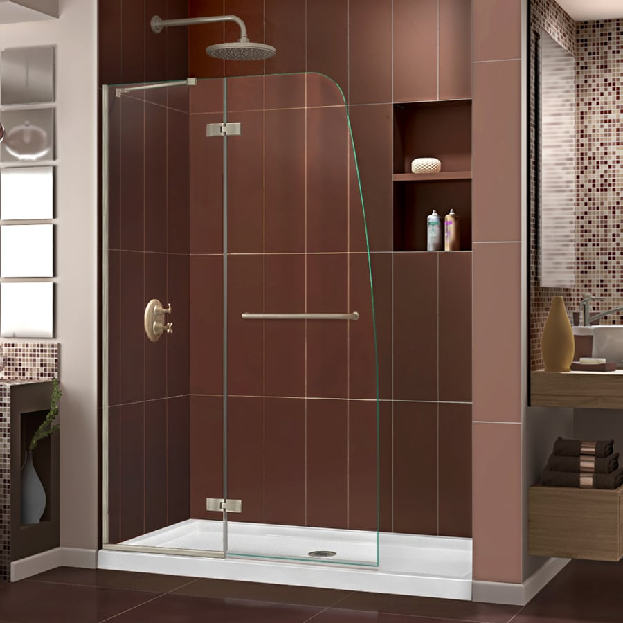 DreamLine Aqua Ultra Brushed Nickel Acrylic Floor 2-Piece Alcove Shower Kit (Common: 36-in x 48-in; Actual: 74.75-in x 36-in x 48-in)