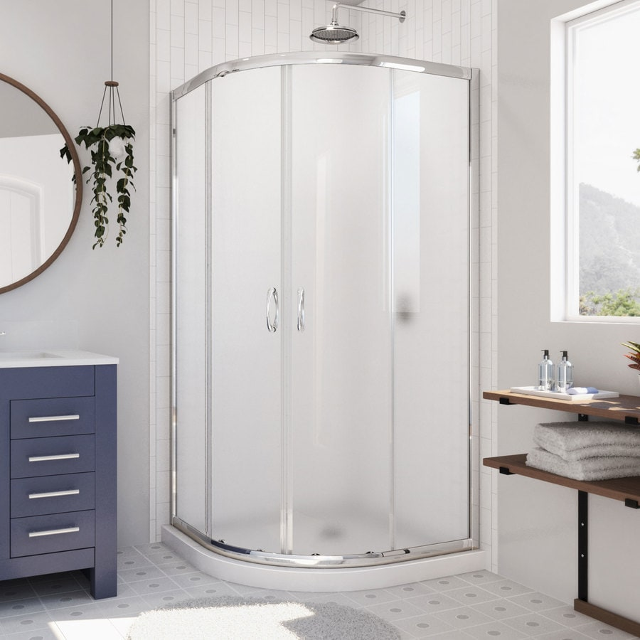 DreamLine Prime White Acrylic Floor Round 2-Piece Corner Shower Kit (Actual: 74.75-in x 38-in x 38-in)