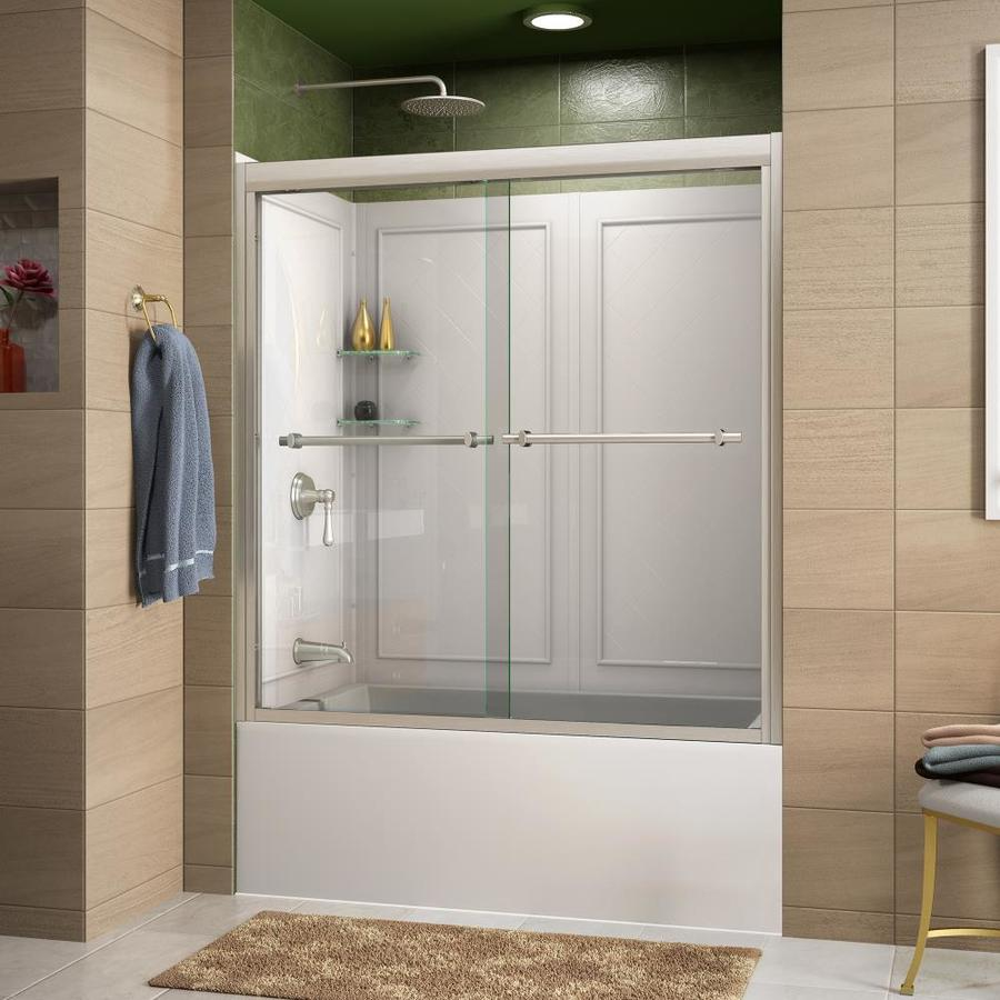 DreamLine Duet Brushed Nickel Acrylic Wall 2-Piece Alcove Shower Kit (Common: 32-in x 59-in; Actual: 60-in x 32-in x 59-in)