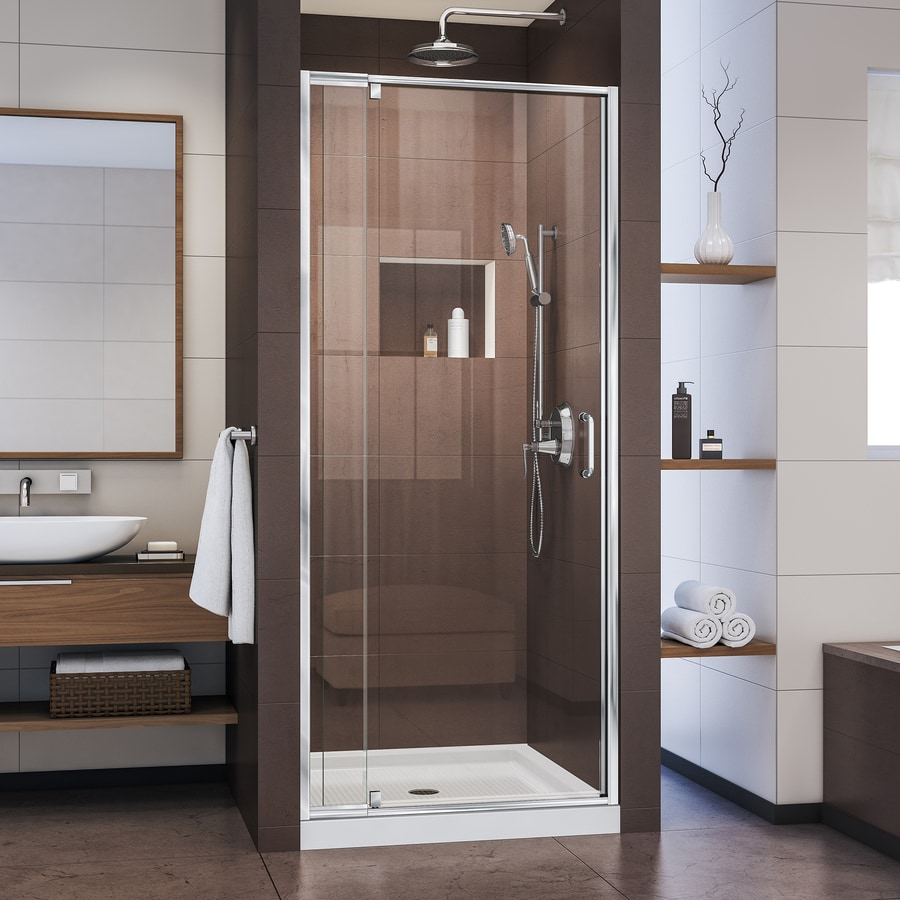 DreamLine Flex Chrome Acrylic Floor 2-Piece Alcove Shower Kit (Common: 36-in x 36-in; Actual: 74.75-in x 36-in x 36-in)