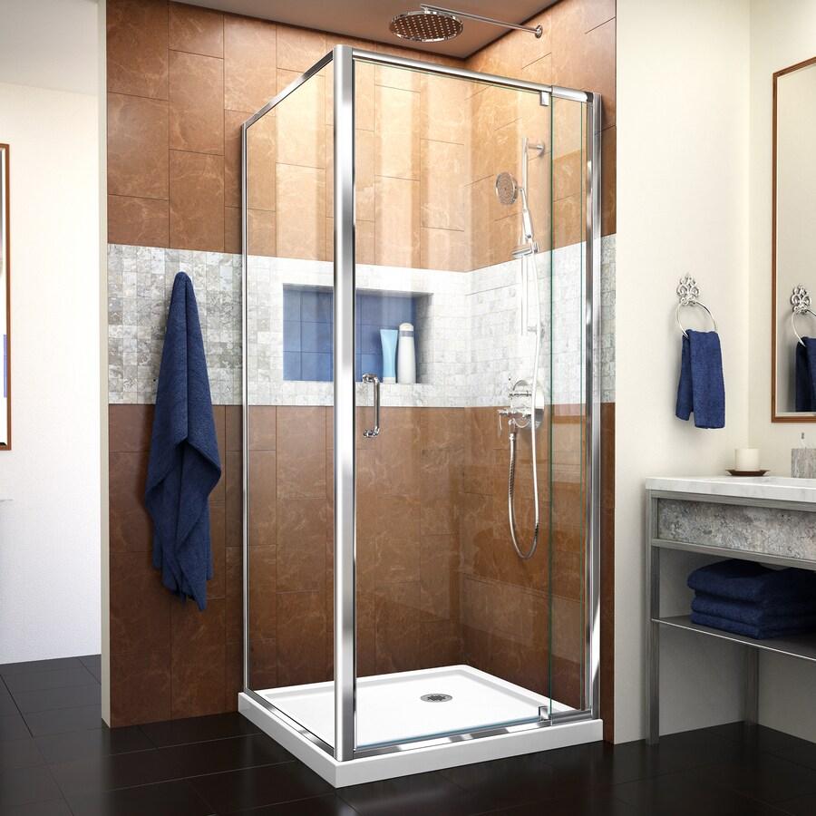 DreamLine Flex White Acrylic Floor Square 2-Piece Corner Shower Kit (Actual: 74.75-in x 32-in x 32-in)