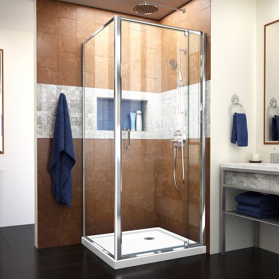 DreamLine Flex White Acrylic Floor Square 2-Piece Corner Shower Kit (Actual: 74.75-in x 36-in x 36-in)