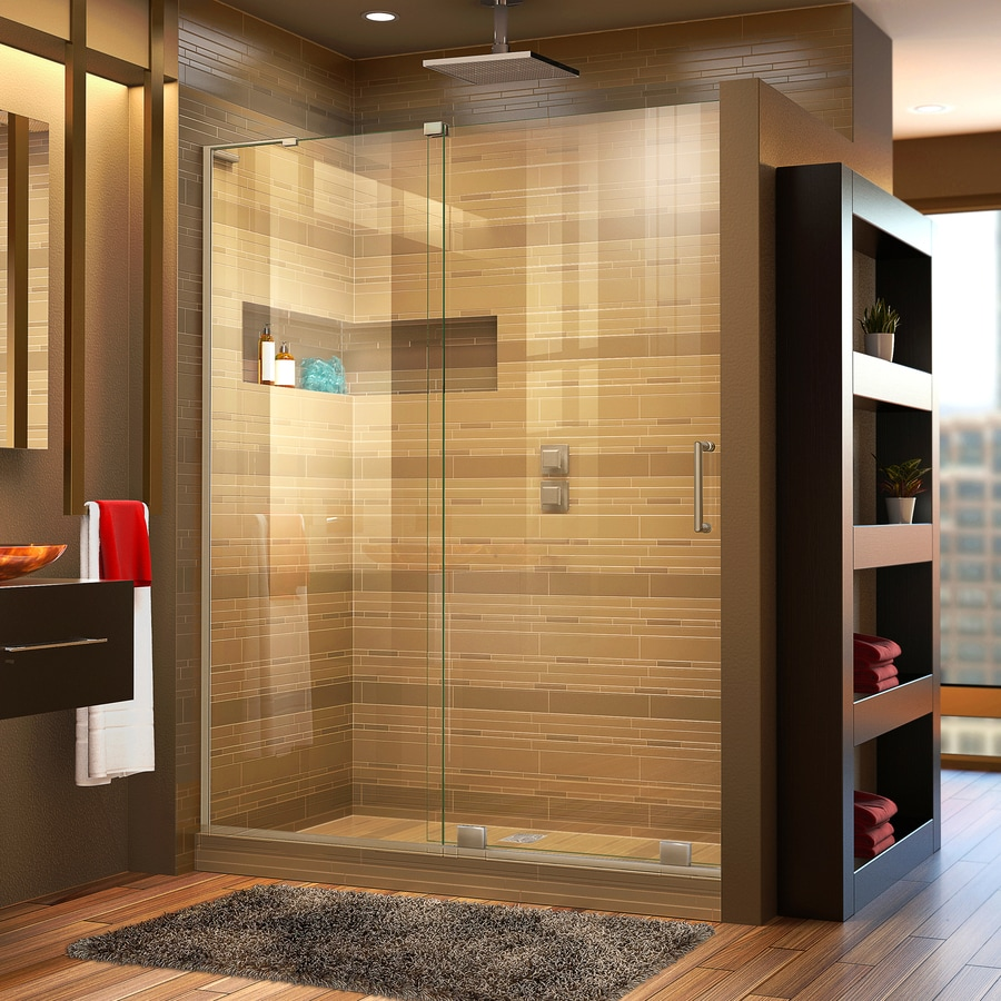 DreamLine Mirage-X 44-in to 48-in W x 72-in H Brushed Nickel Sliding Shower Door