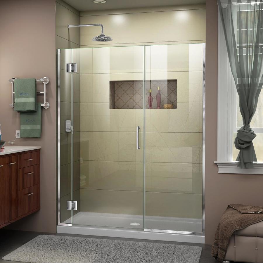 DreamLine Unidoor-X 63-in to 63.5-in Polished Chrome Frameless Hinged Shower Door