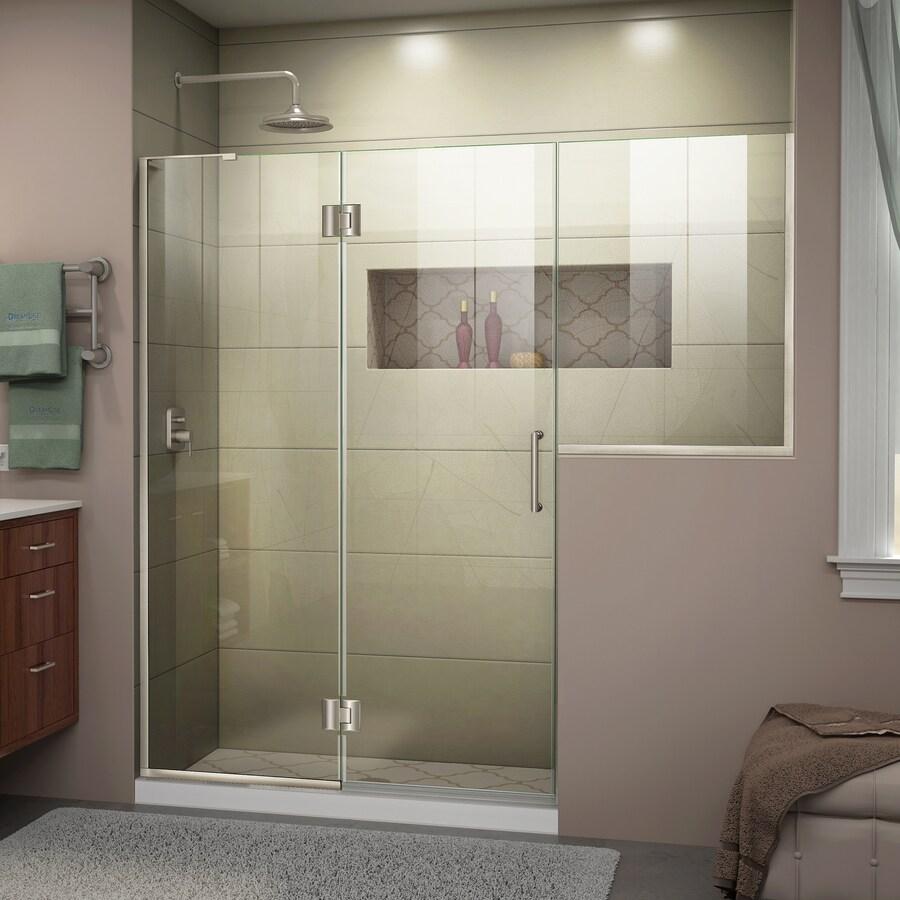 DreamLine Unidoor-X 71-in to 71.5-in Brushed Nickel Frameless Hinged Shower Door