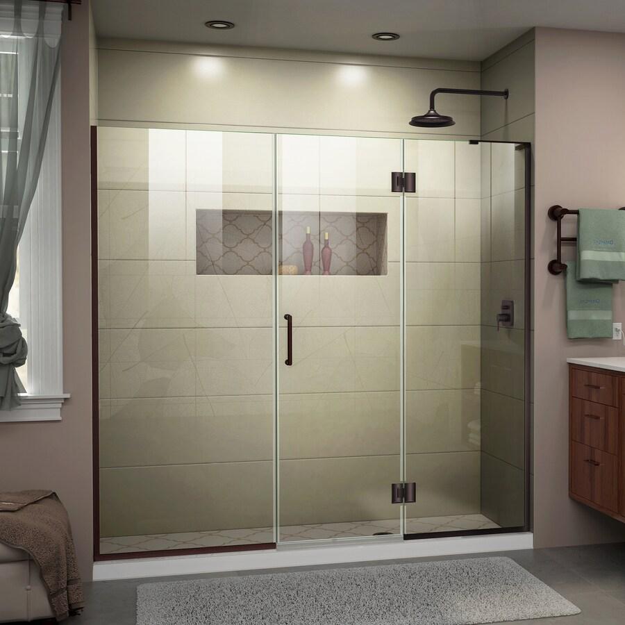 DreamLine Unidoor-X 66-in to 66.5-in Oil-Rubbed Bronze Frameless Hinged Shower Door