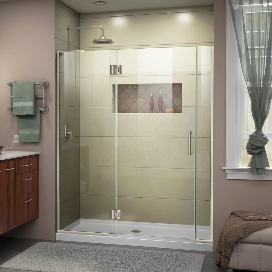 DreamLine Unidoor-X 60.5-in to 61-in Brushed Nickel Frameless Hinged Shower Door
