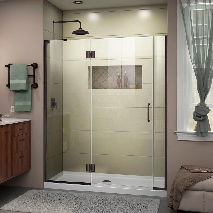 DreamLine Unidoor-X 60.5-in to 61-in Oil-Rubbed Bronze Frameless Hinged Shower Door