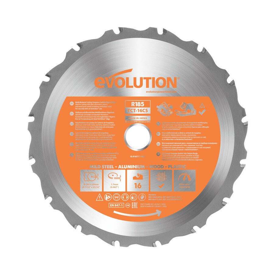Evolution 7-1/4-in 20-Tooth Standard Tungsten Carbide-Tipped Steel Circular Saw Blade