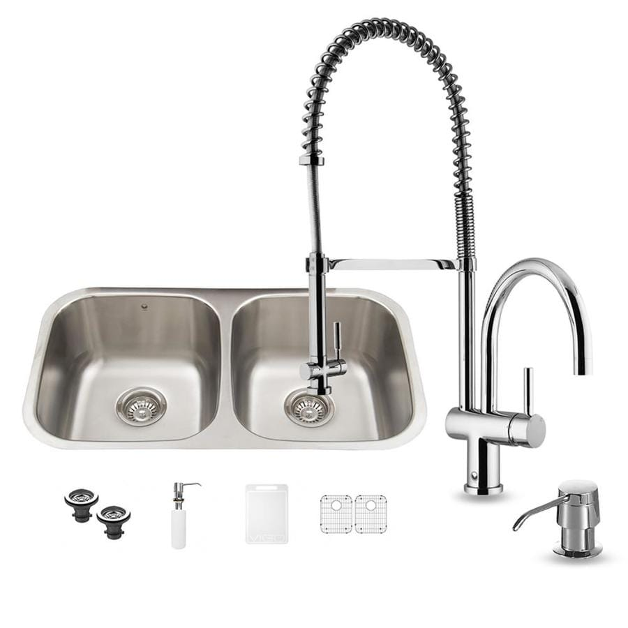 VIGO 32.25-in x 18.5-in Stainless Steel Double-Basin Undermount 1-Hole Commercial Kitchen Sink All-In-One Kit
