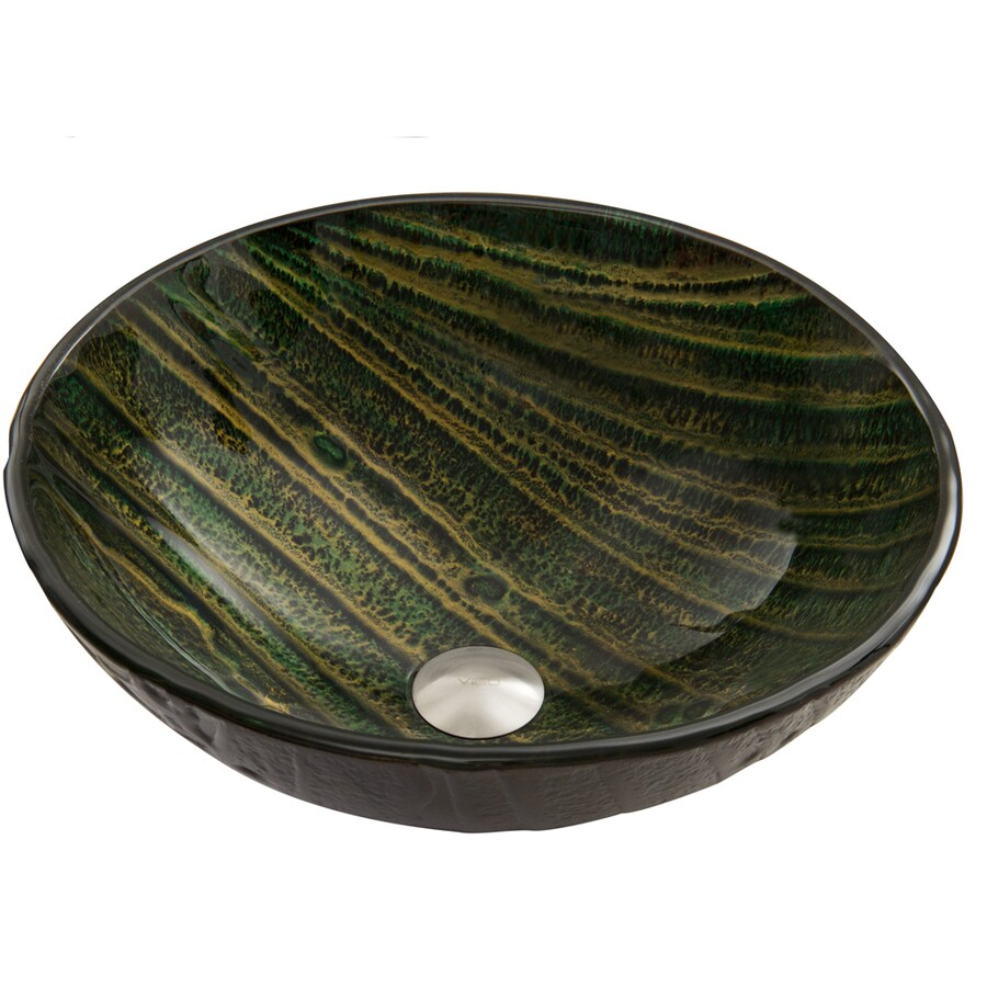 VIGO Green Asteroid Glass Vessel Round Bathroom Sink