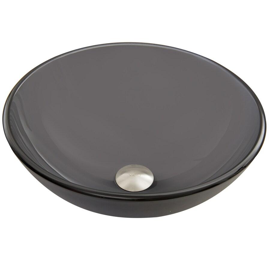 VIGO Sheer Black Frost Glass Vessel Round Bathroom Sink