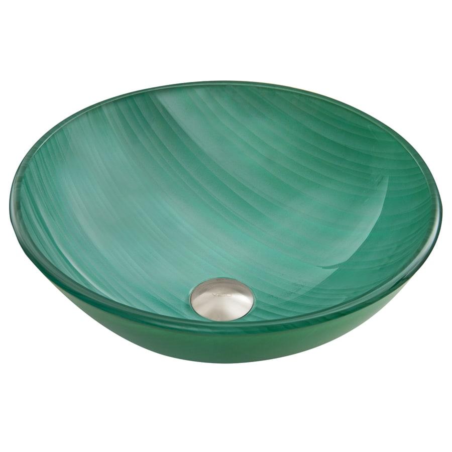 VIGO Whispering Wind Glass Vessel Round Bathroom Sink