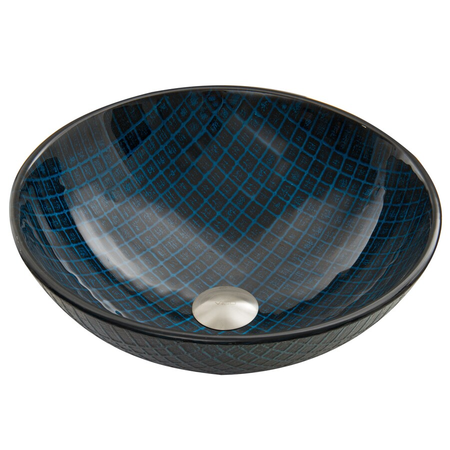 VIGO Blue Matrix Glass Vessel Round Bathroom Sink