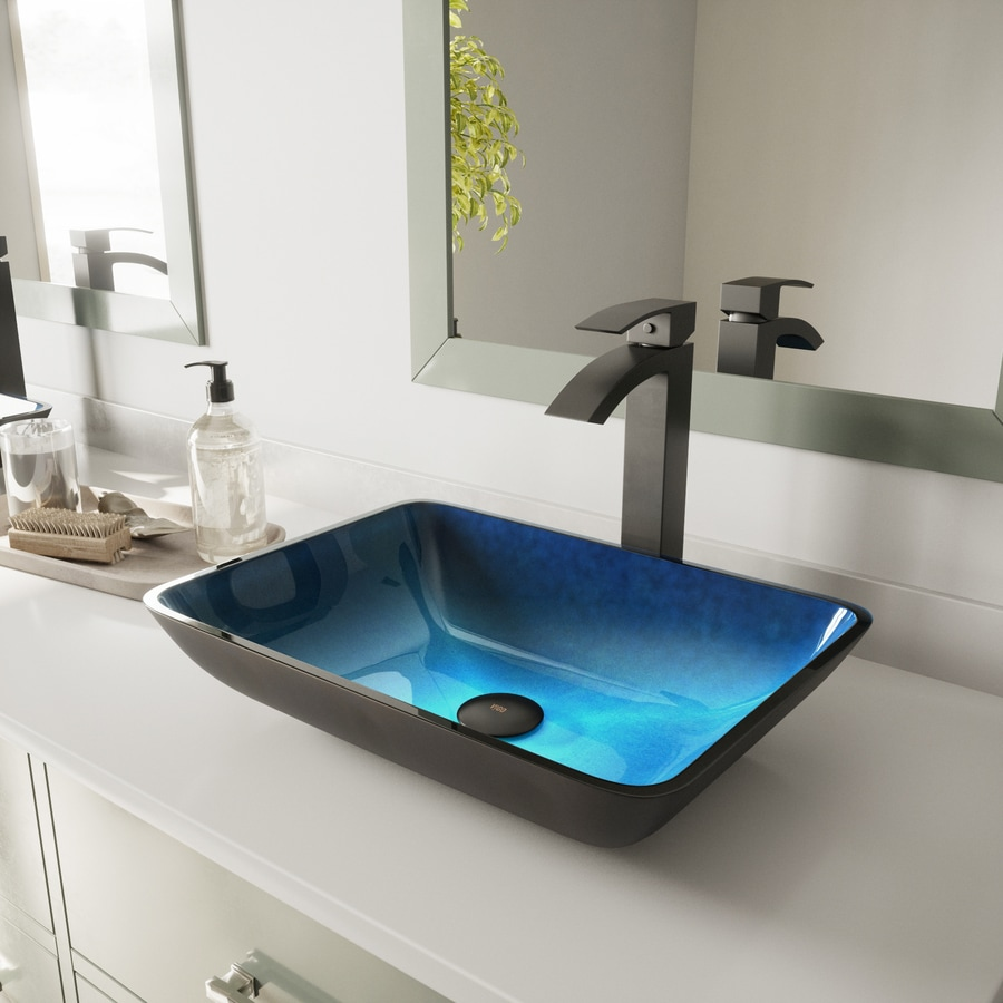 VIGO Turquoise Water Glass Vessel Rectangular Bathroom Sink