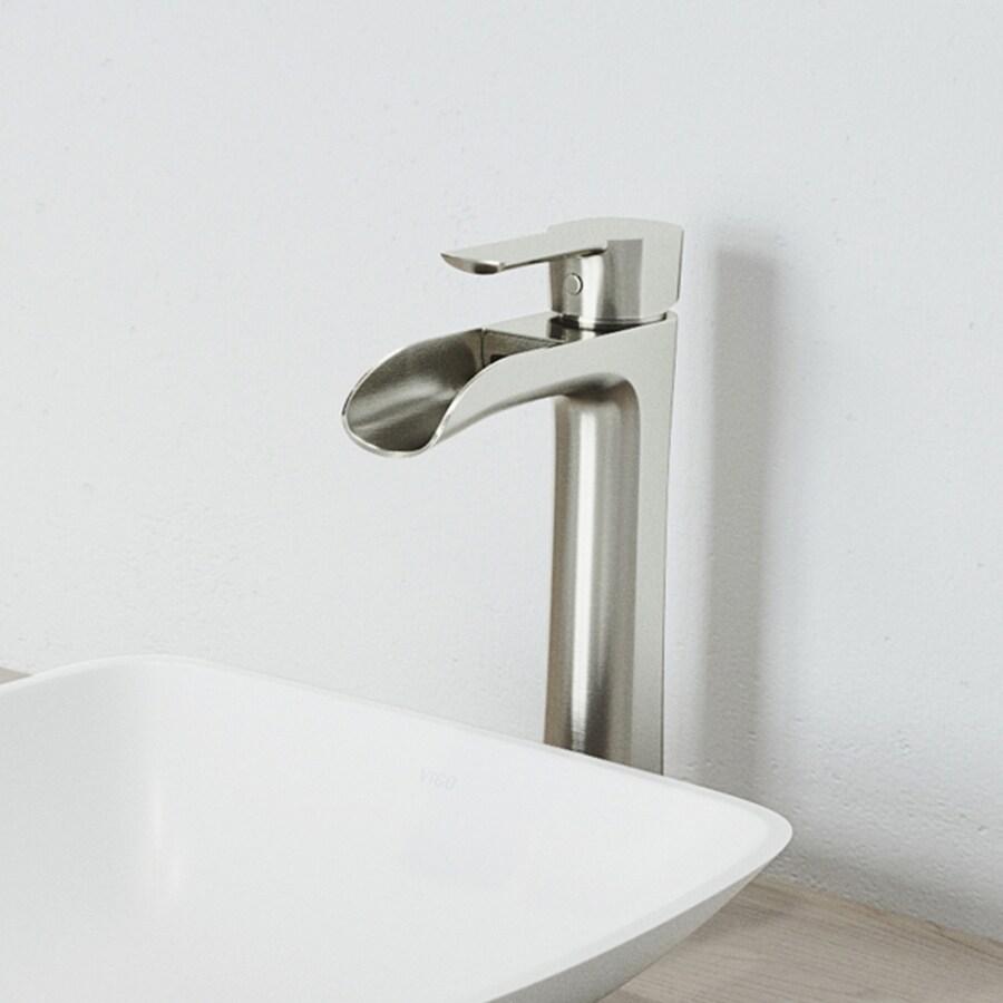 VIGO Niko Brushed Nickel 1-Handle Single Hole WaterSense Bathroom Faucet