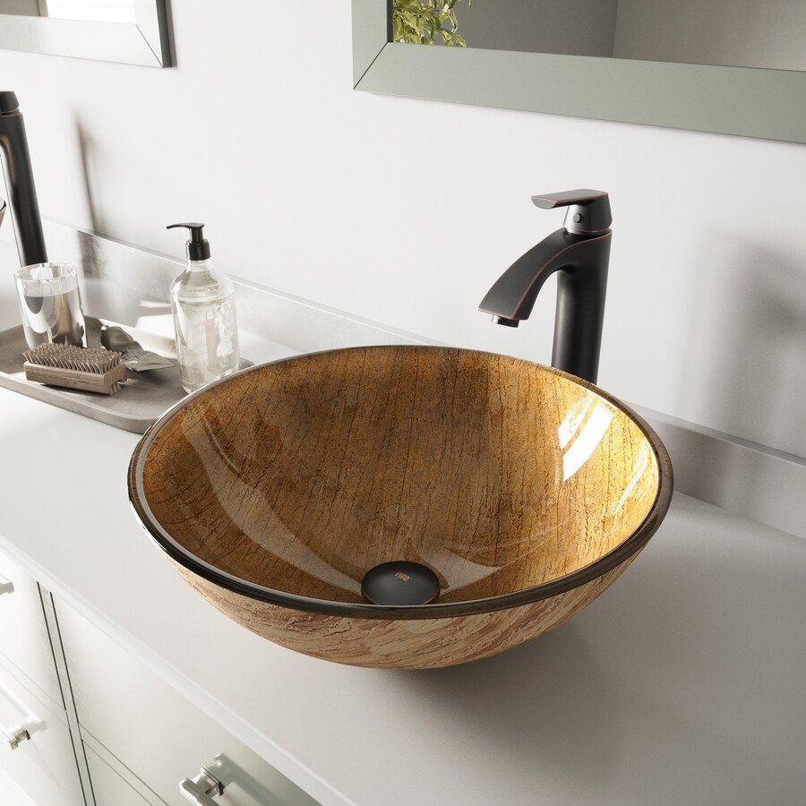 VIGO Amber Sunset Tempered Glass Vessel Round Bathroom Sink with Faucet (Drain Included)