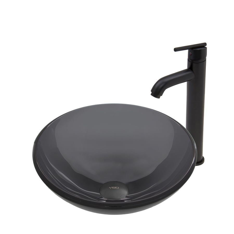 VIGO Sheer Black Tempered Glass Vessel Round Bathroom Sink with Faucet (Drain Included)