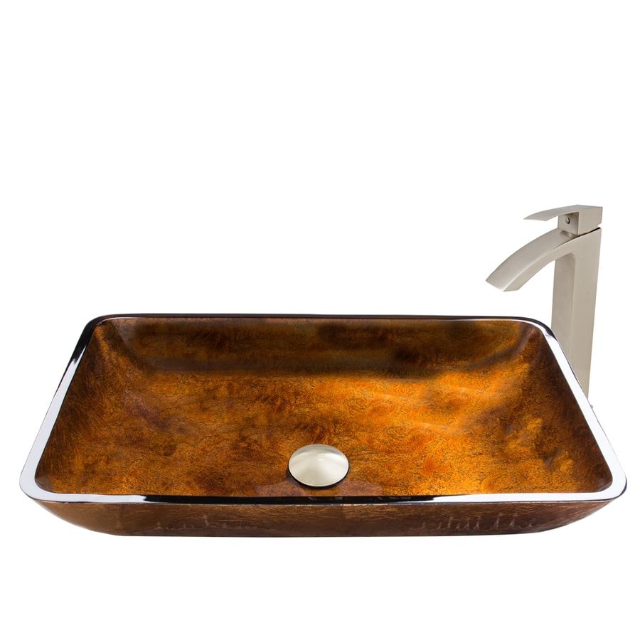 VIGO Russet Tempered Glass Vessel Rectangular Bathroom Sink with Faucet (Drain Included)