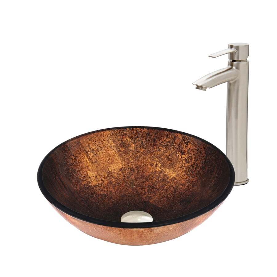 VIGO Russet Tempered Glass Vessel Round Bathroom Sink with Faucet (Drain Included)