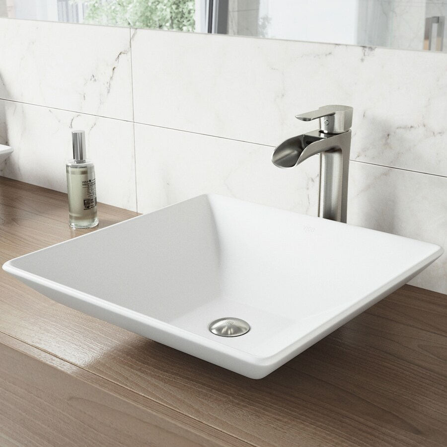 VIGO Vessel Bathroom Sets White Stone Vessel Square Bathroom Sink