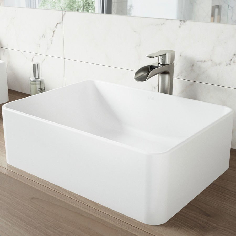 VIGO Vessel Bathroom Sets White Stone Vessel Rectangular Bathroom Sink ...
