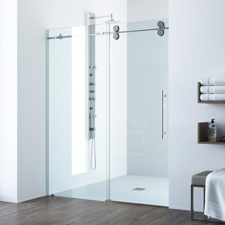 VIGO 52-in to 56-in W x 74-in H Frameless Sliding Shower Door