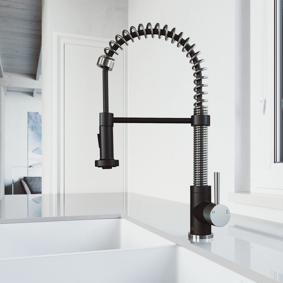shop vigo edison stainless steel and matte black 1 handle pull out kitchen faucet at lowes