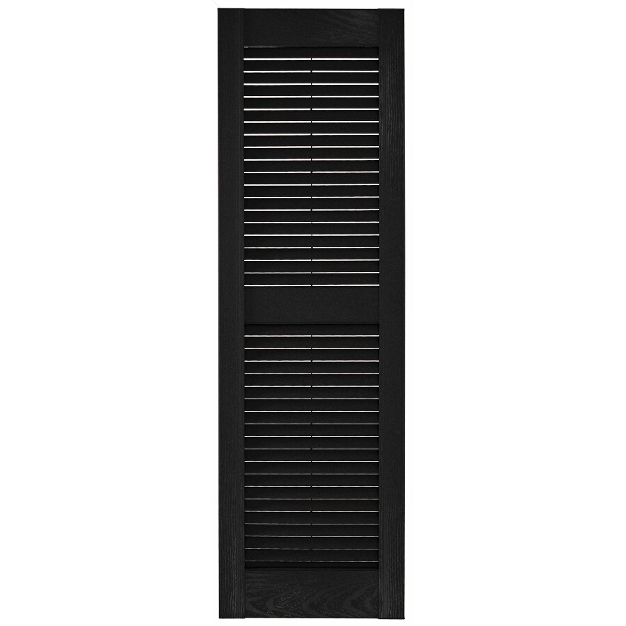 Custom Shutters llc. 2-Pack Black Louvered Vinyl Exterior Shutters (Common: 14-in x 65-in; Actual: 14.5-in x 65-in)