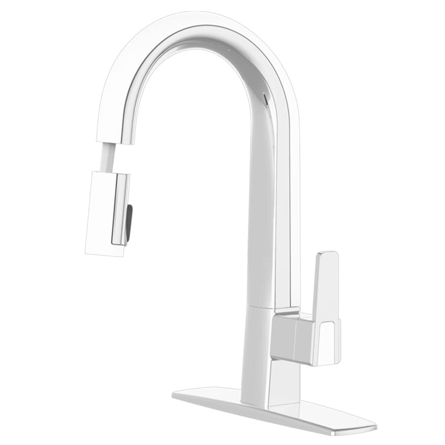 cleanFLO Matisse Chrome and White 1-Handle Pull-Down Sink/Counter Mount Traditional Kitchen Faucet