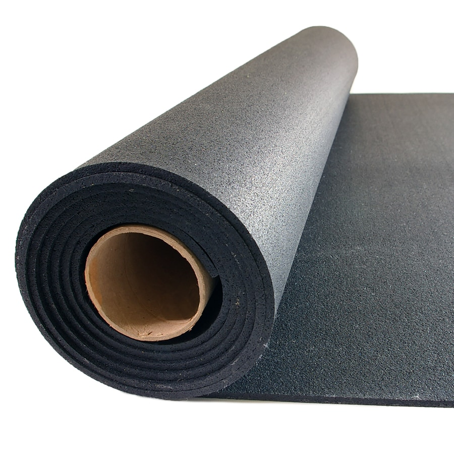 Shop nutek 48 in x 120 in black loose lay rubber sheet at for Rubber flooring