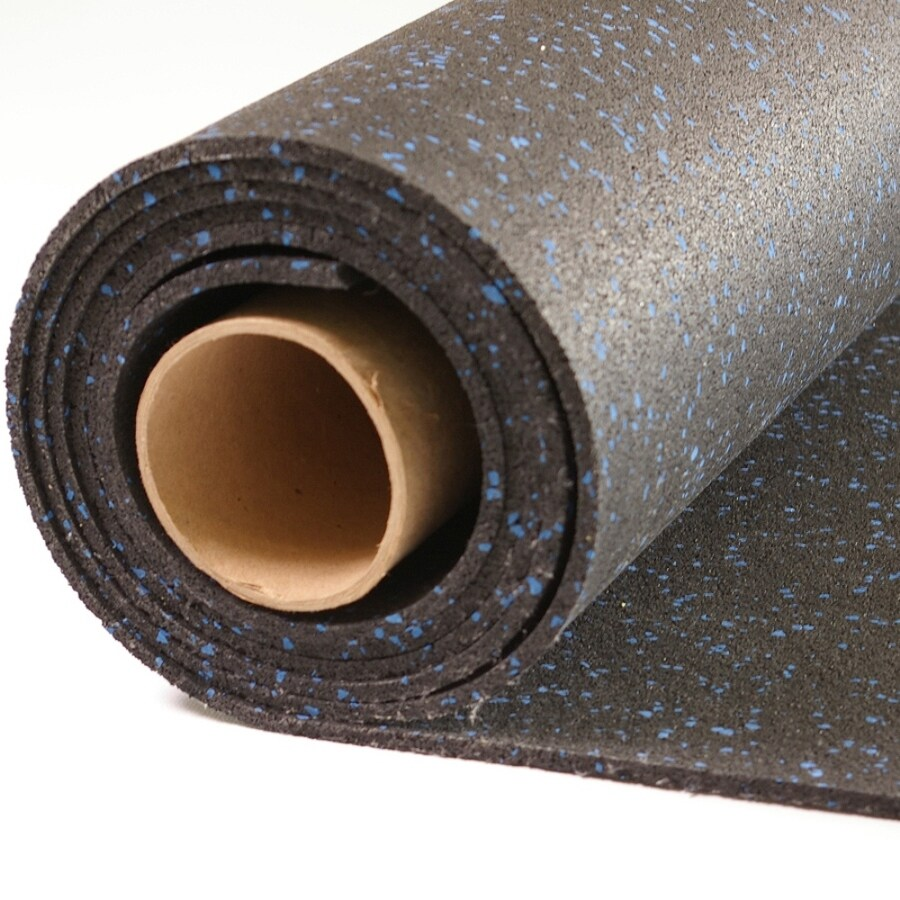 NuTek 48-in x 120-in Black with 10% Blue Flecks Loose Lay Rubber Sheet