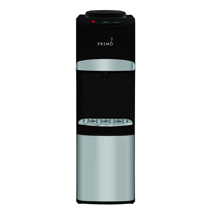 Primo Stainless Steel/Black Top-Loading Cold and Hot Water Cooler ENERGY STAR