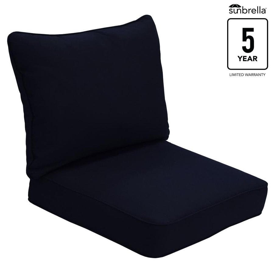 Allen Roth Sunbrella Pardini Canvas Navy Solid Deep Seat Patio Chair Cushion For