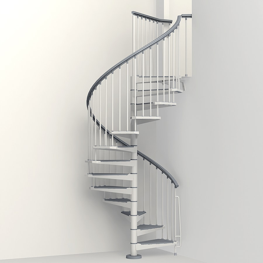 Shop arke eureka 63 in x 10 ft white spiral staircase kit - Exterior metal spiral staircase cost ...