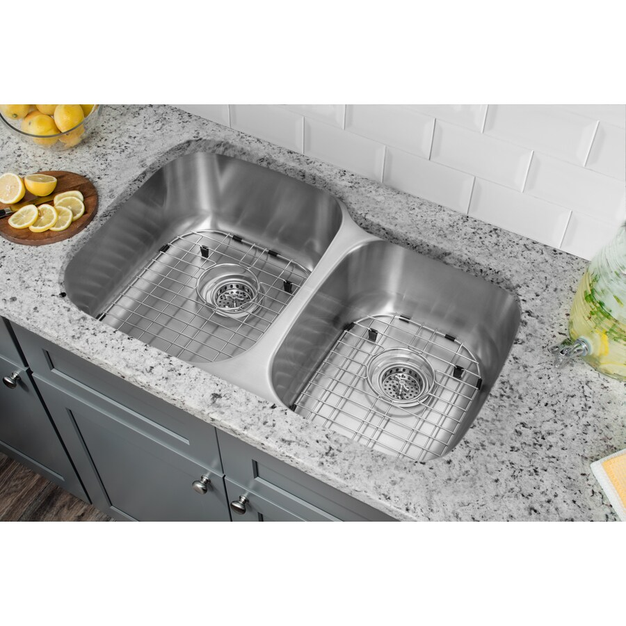 Superior Sinks 20.75-in x 32-in Satin Brush Stainless Steel Double-Basin Undermount Residential Kitchen Sink