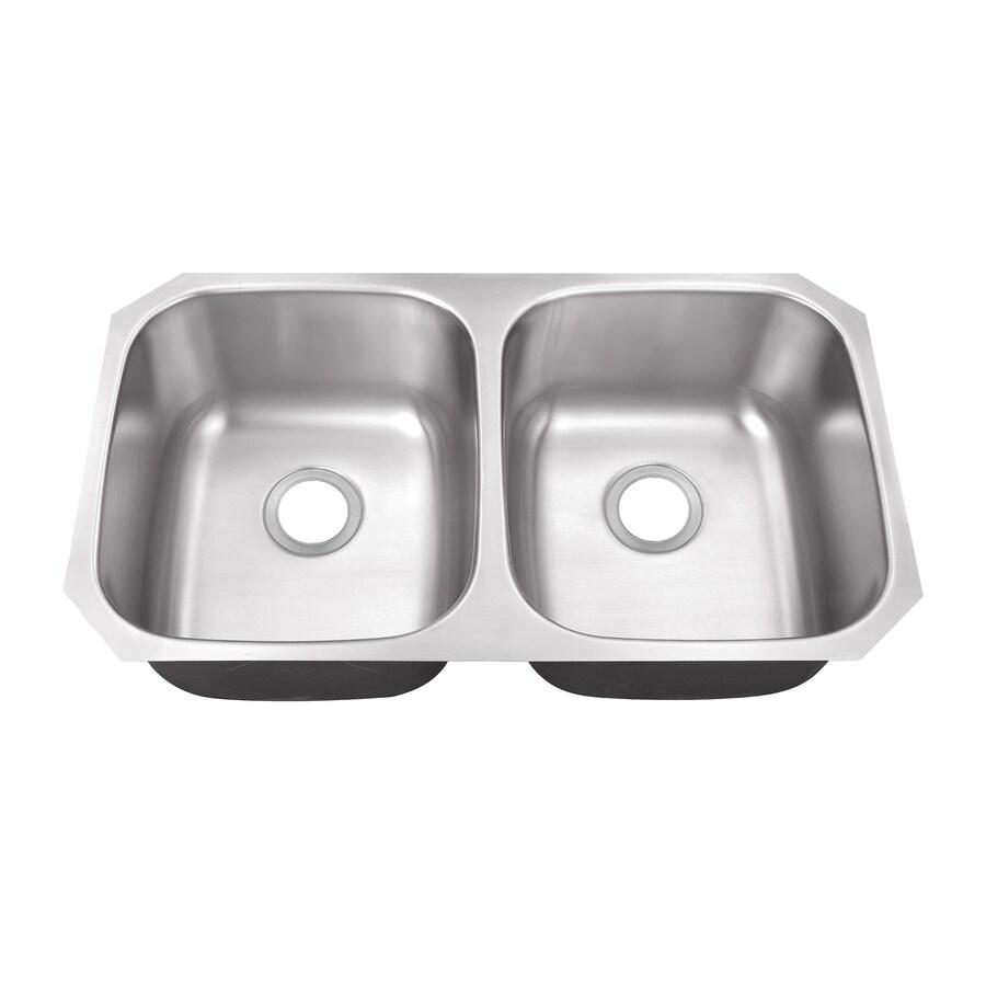 Superior Sinks 18.5-in x 32.5-in Satin Brush Stainless Steel Double-Basin Undermount Residential Kitchen Sink