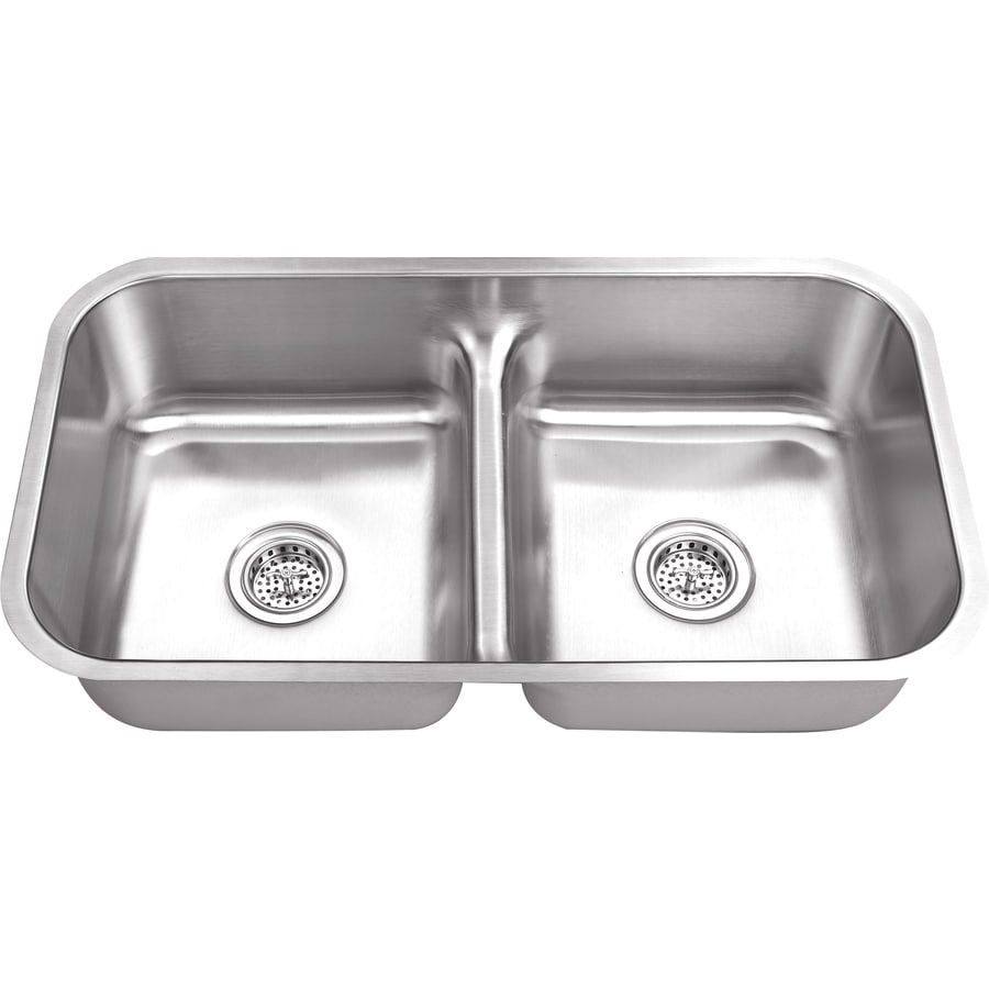 Superior Sinks 18.125-in x 32.5-in Satin Brush Stainless Steel Double ...