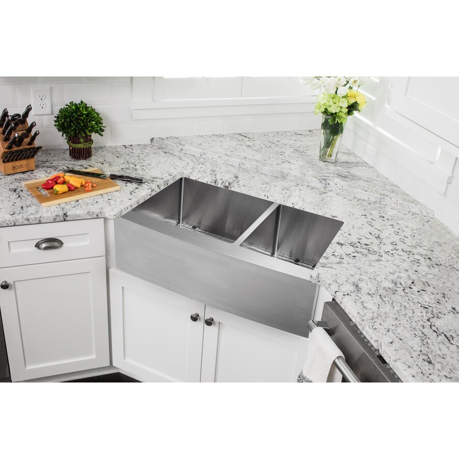 Superior Sinks 21.25-in x 35.825-in Satin Brush Stainless Steel Double-Basin Apron Front/Farmhouse Residential Kitchen Sink