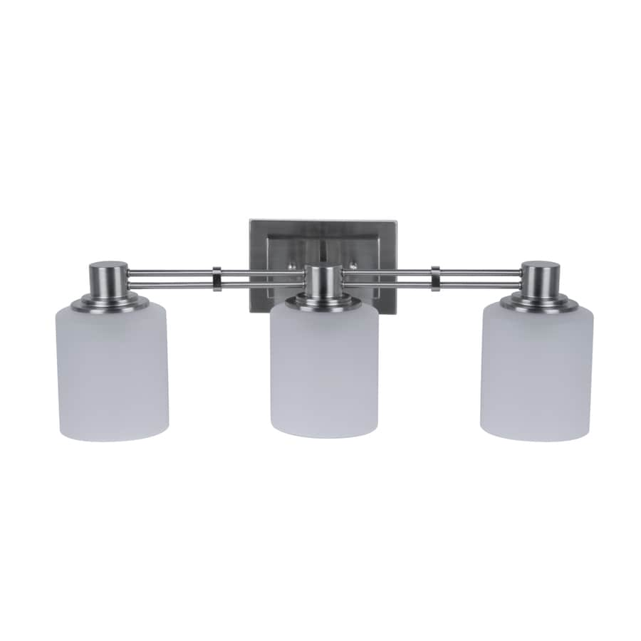 Shop portfolio 3 light lunenbeck brushed nickel bathroom vanity light at for Brushed nickel bathroom lighting fixtures