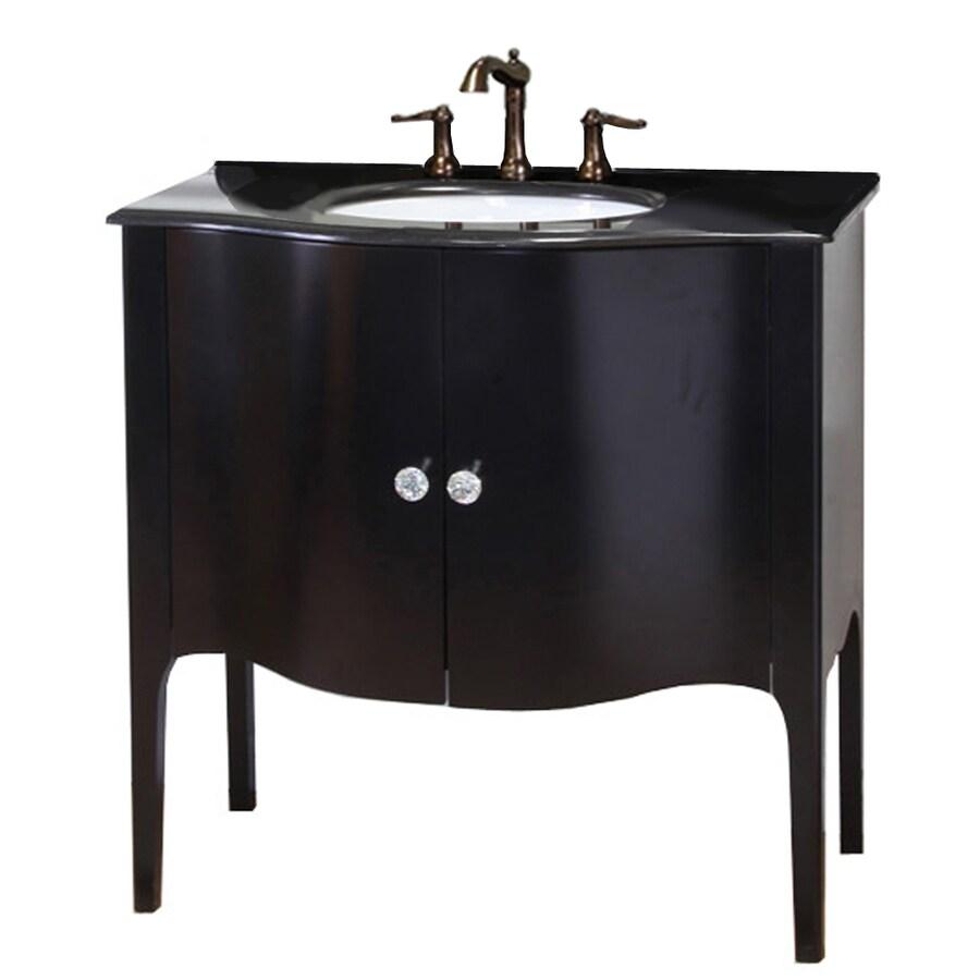Bellaterra Home Black Undermount Single Sink Birch Bathroom Vanity with Granite Top (Common: 36-in x 22-in; Actual: 36.6-in x 22-in)