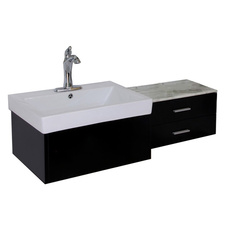 Bellaterra Home Black Undermount Single Sink Birch Bathroom Vanity with Natural Marble Top (Common: 45-in x 18-in; Actual: 45.8-in x 18.5-in)