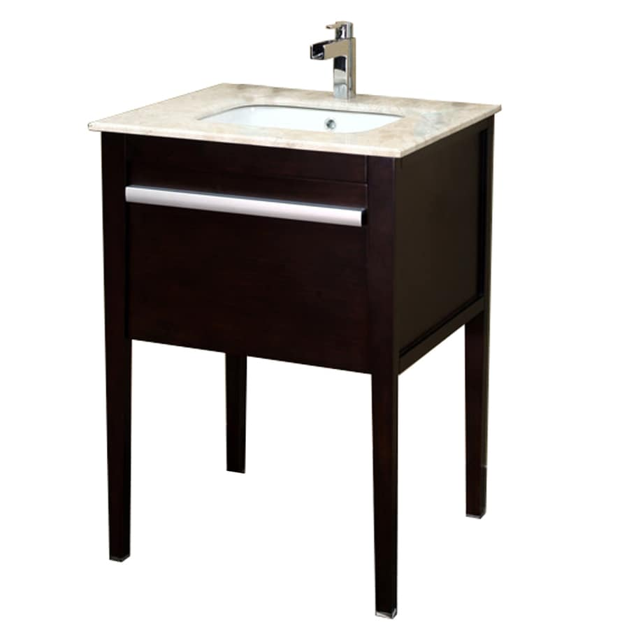 Bellaterra Home Cherry Undermount Single Sink Birch Bathroom Vanity with Natural Marble Top (Common: 26-in x 22-in; Actual: 26-in x 22-in)