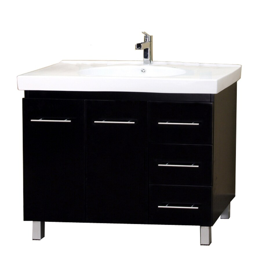 Bellaterra Home Black Integral Single Sink Birch Bathroom Vanity with Vitreous China Top (Common: 39-in x 18-in; Actual: 39-in x 18.9-in)