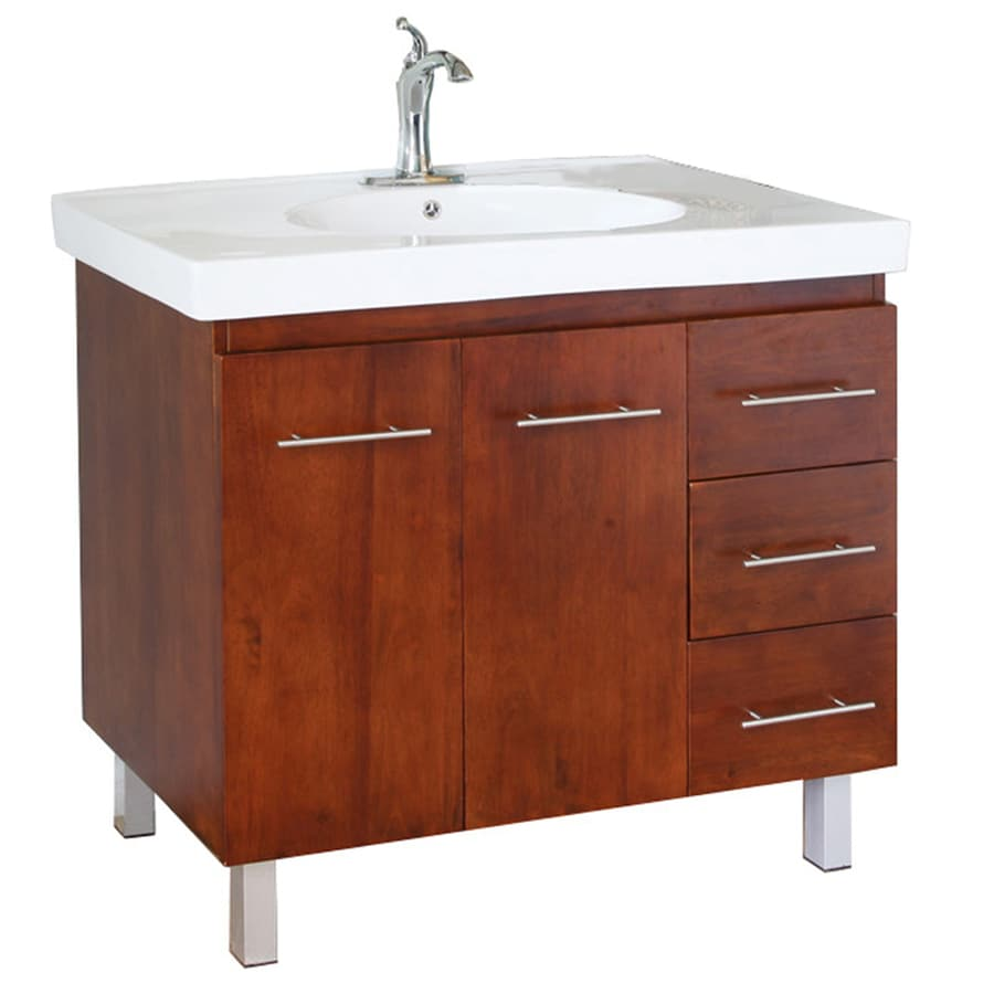 Bellaterra Home Medium Walnut Integral Single Sink Birch Bathroom Vanity with Vitreous China Top (Common: 39-in x 18-in; Actual: 39.6-in x 18.9-in)
