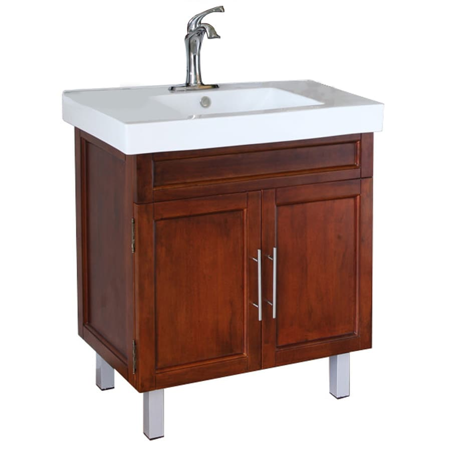 Bellaterra Home Med Walnut Integral Single Sink Birch Bathroom Vanity with Vitreous China Top (Common: 31-in x 18-in; Actual: 31.5-in x 18.3-in)